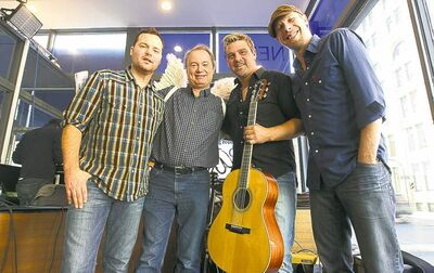 joe bryksa / winnipeg free press archivesDoc Walker dropped off 500,000 pennies, thanks to lead singer Chris Thorsteinson�s win of $5,000 at CMT�s Employee of the Week TV show. From left: Dave Washliw, the Free Press�s Kevin Rollason, Chris Thorsteinson, and Murray Pulver.