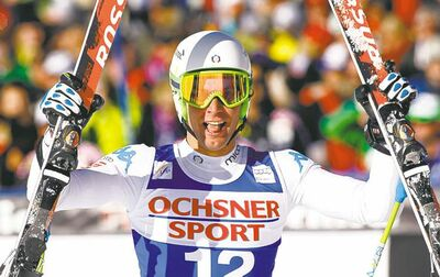 Matteo Marsaglia from Italy, reacts on the finish area after his run in the men's World Cup super-g ski race in Beaver Creek, Colo., on Saturday, Dec. 1, 2012.