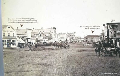 Potholes on  Main Street in 1875.