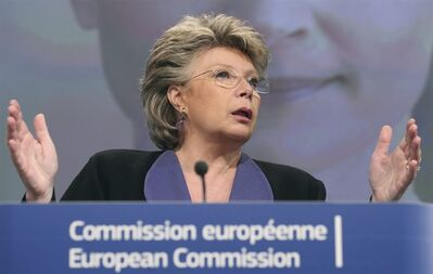 European Commissioner for Justice, Fundamental Rights and Citizenship Viviane Reding addresses the media at the European Commission headquarters in Brussels, Monday, March 5, 2012. (AP Photo/Yves Logghe)