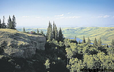 Cypress Hills Interprovincial Park straddles the border between Saskatchewan and Alberta.