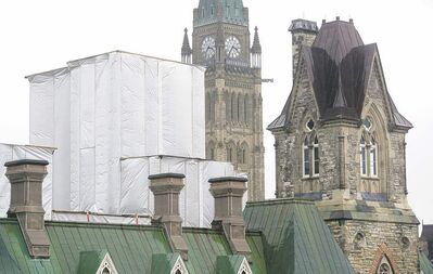 Adrian Wyld / THE CANADIAN PRESS Parts of the West Block are covered in scaffolding on Parliament Hill in Ottawa. Documents show the costs associated with the repair of Parliament Hill�s crumbling West Block have pushed the project�s price tag past  the billion-dollar mark.