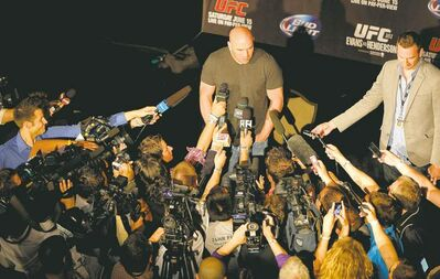 BORIS MINKEVICH / WINNIPEG FREE PRESS UFC president Dana White drew a large media throng at a press conference in advance of Saturday�s UFC 161. On Thursday, White promised to bring the UFC back to Winnipeg.