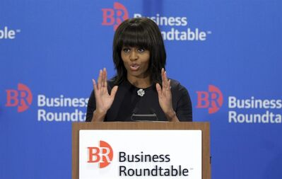 First lady Michelle Obama speaks to the quarterly meeting of member Chief Executive Officers of the Business Roundtable in Washington, Wednesday, March 13, 2013. (AP Photo/Susan Walsh)