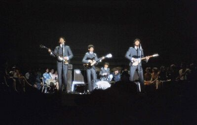 In this Feb. 12, 1964 file photo, the Beatles, from left Paul McCartney, George Harrison, Ringo Starr on drums, and John Lennon, perform at Carnegie Hall in New York.