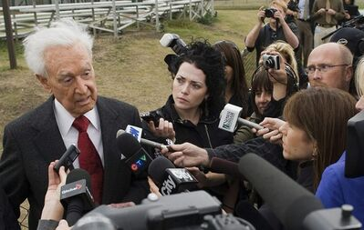 "In this September 17, 2009 photo, Bob Barker speaks to the media after meeting Lucy the elephant at Edmonton's River Valley Zoo. A prize giveaway from ""The Price is Right"" for a trip to two to mark the 100th anniversary of the Calgary Stampede has former host Bob Barker stomping mad. THE CANADIAN PRESS/Ian Jackson"