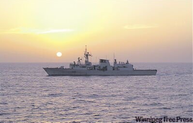 It's a serene sunset In the Gulf of Aden.
