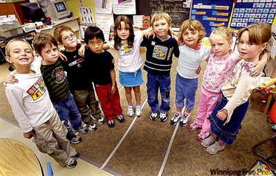 In kindergarten at Windsor School in 2005, from left: Quinn Mayer, Devon McLeod, Jesse Gibbons, Gabriel Jung,Paige Henwood,Garrett Clarke, Abygale Doerksen, Hailey Harrison, Sarah Orbanski.