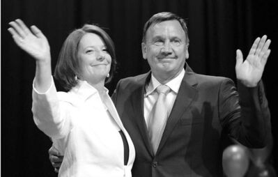 Australian Prime Minister Julia Gillard and her partner Tim Mathieson.