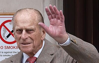 Prince Philip, Duke of Edinburgh waves as he leaves King Edward VII Hospital in central London after being treated for a bladder infection, Saturday, June 9, 2012. The duke will celebrate his 91st birthday Sunday privately with members of the family. On Friday he enjoyed the company of grandsons the Duke of Cambridge and Prince Harry who paid a short, private visit to the hospital. (AP Photo/PA, Max Nash) UNITED KINGDOM OUT NO SALES NO ARCHIVE