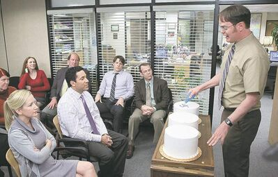 From left, final Office party with Kate Flannery as Meredith Palmer, Catherine Tate as Nellie Bertram, Angela Kinsey as Angela Martin, Oscar Nunez as Oscar Martinez, Brian Baumgartner as Kevin Malone, Jake Lacy as Pete, Paul Lieberstein as Toby Flenderson, Rainn Wilson as Dwight Schrute; below, Ed Helms as Andy Bernard.