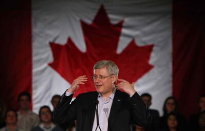 On the third anniversary of the party's last election victory, Prime Minister Stephen Harper speaks at a Conservative Party event at the Marconi Club in London, Ont. on Friday. Mr. Harper has made no secret of his contempt for courts and judges who, in his view, have supplanted the role of Parliament, our editorial board writes.