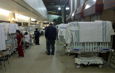 Beds line the hallway after patients were moved after a fire sent smoke into children's wards at Health Sciences Centre.