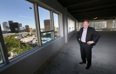 WAYNE GLOWACKI / WINNIPEG FREE PRESS</p><p>Joe Banfield is the leasing agent for the redeveloped office building at 287 Broadway.</p>