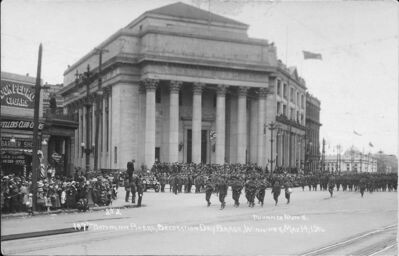 The 107th Battalion on parade at Portage and Main in 1916.