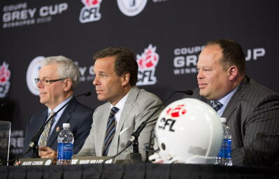 Premier Greg Selinger, CFL Commissioner Mark Cohon and Blue Bombers CEO Wade Miller were all on hand to announce that the 2015 Grey Cup game is set to be played at Investors Group Field.