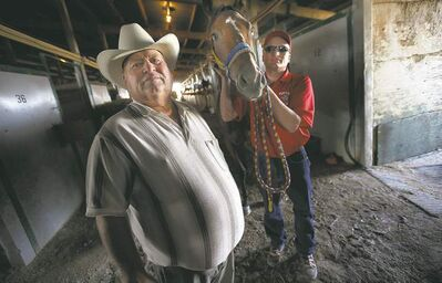 Ardell Sayler (left) and son Aaron with She's Copacetic at Assiniboia Downs.