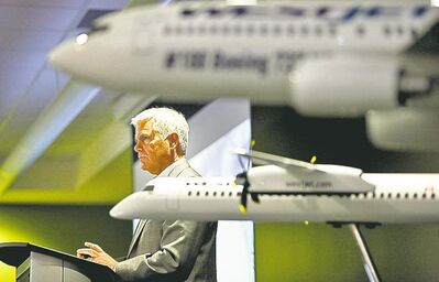 WestJet CEO Gregg Saretsky addresses airline's annual meeting in Calgary Tuesday.