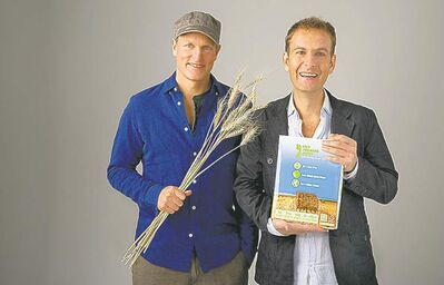 Actor Woody Harrelson (left) and Jeff Golfman are partners in Prairie Pulp & Paper Inc. of Winnipeg.