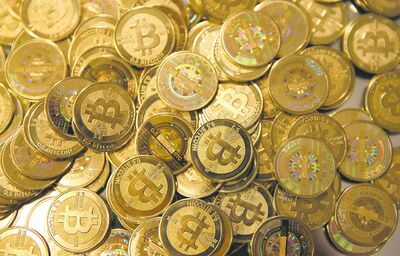 Physical versions of bitcoins.