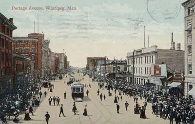 This postcard from Wish You Were Here shows how busy Portage Avenue was in the past.