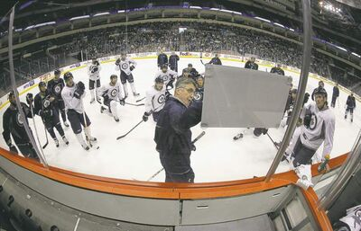 Head coach Claude Noel leads a special open practice at the MTS Centre Sunday for fans who were invited from the season-ticket waiting list.