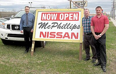 Left to right, McPhillips Nissan finance manager Brendan David, sales manager Gary Doyle and managing partner Jeff Novakoski.