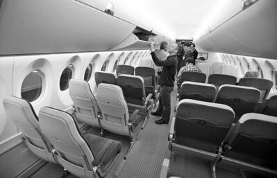 A look inside the cabin of a full-size model of the Bombardier CSeries aircraft. The plane was shunned by buyers this week.