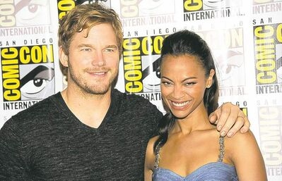 Guardians of the Galaxy co-stars Chris Pratt and Zoe Saldana at Comic-Con in San Diego.