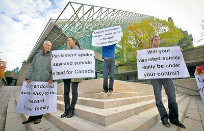 Assisted-suicide opponents demonstrate outside the B.C. Court of Appeal after Thursday's ruling.