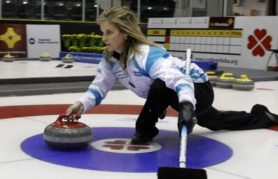 Skip Jennifer Jones practices Tuesday in preparation for the Scotties Tournament of Hearts in Portage la Prairie. Jones, the top seed, was beaten by Kelsey Boettcher on Friday.