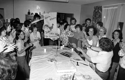 A celebration at a L'Arche home in 1976 is documented.