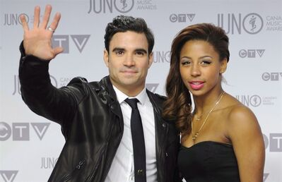 Alexandre Despatie and Jennifer Abel presented at the Junos on April 1, 2012. THE CANADIAN PRESS/Sean Kilpatrick