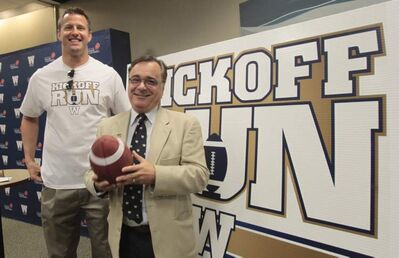 Jerry Maslowsky (right) with the Winnipeg Blue Bombers and former Bomber player Doug Brown, the ambassador for the Kickoff Run relay June 22-27 announced Tuesday.