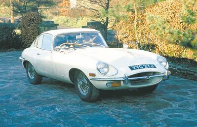The 1970 Jaguar XKE coupe photographed when new by newlyweds Michael and Jackie Wainwright, who bought the car in London for their British honeymoon.