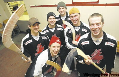 Team Canada bandy players Dan Nowicki (red hat) and from left to right, Kyle Marchuk, Matt Lahaie, Brett Gavrailoff, Kevin Marchuk and Steve Landreville are in Sweden in search of a world championship.