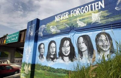 A mural on the rail bridge over Portage Avenue depicts murdered Manitoba aboriginal women and another mural on the south side shows portraits of missing Manitoba aboriginal women. The inaugural Day of Action Thursday will raise awareness of these and many other aboriginal women who have gone missing or been murdered.