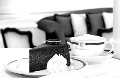 A slice of Sachertorte and a Kapuziner, the Viennese equivalent of the cappuccino, make up the essential Viennese cafe experience.