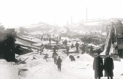 The aftermath of the Halifax Explosion is shown in this 1917 file photo. Gordon Collins of Halifax vividly recalls the morning 90 years ago when a burst of fire, smoke and shrapnel ripped through this port city. But the 99-year-old says he fears the legacy of the Halifax Explosion will fade when he's no longer able to share his memories.