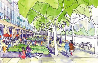 Scatliff + Miller + MurrayA design sketch for a commercial streetscape. Landscape architects work as part of a design team to ensure buildings appropriately engage the public realm.