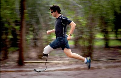 Emilio Morenatti works out in a public park in Mexico City. 'The soldiers taught me the difference between losing a leg and missing a leg.'