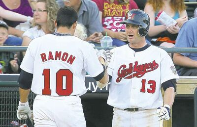Goldeyes' Josh Mazzola congratulates Amos Ramon after Ramon tagged his second home run of the night against the St.Paul Saints, Tuesday.