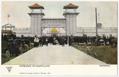 Happyland Amusement Park opened in the heart of Wolseley on May 23, 1906. The entrance of Happyland Park with its elaborate electrical displays lit up the west region of the city.