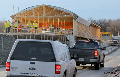 Crews continue to work on the Sturgeon Road bridge replacement, on track to be completed by October 2013.
