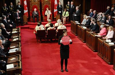 Page Brigette DePape used her access to the Senate to protest the Harper government's agenda during Friday's throne speech. She was quickly ushered out by security and fired from her job. DePape denies suggestions she disrespected Parliament.
