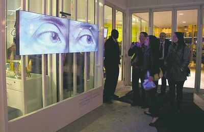 Keeping an eye on things: a video installation at Plug In ICA is ever watchful.