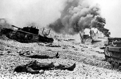 This is a sceen on Dieppe Beach, France during World War ll, where Canadian casualties amounted to more than 3,300, including approximately 1,800 taken as prisoners.
