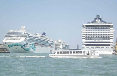 Cruise ships in port of Venice.