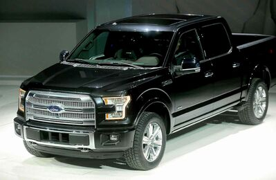 The 2015 Ford F-150 is displayed during the 2014 North American International Auto Show in Detroit.