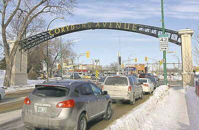 Mouth of Corydon Ave looking towards Confusion Corner. Since 2011, the city has struggled to create a planning framework for the area informally known as Corydon Village.